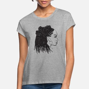Hairstyle Black Woman Dreads Hairstyle Natural Pretty Lady - Women's Loose Fit T-Shirt