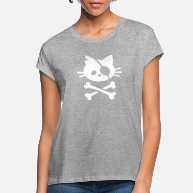 Pirate Cat Skull and Crossbone - Women's Loose Fit T-Shirt