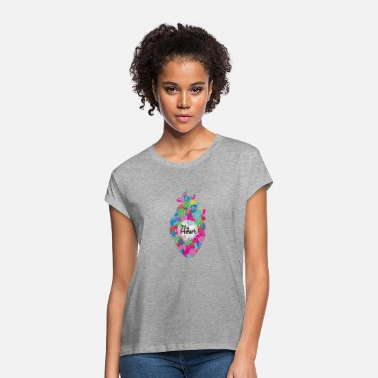 Heart T-Shirts - My Heart - Women's Loose Fit T-Shirt heather gray