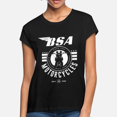 Official Bsa British Motorcycles Bike Logo Grey Si - Women's Loose Fit T-Shirt