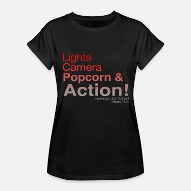 Camera Club Light Camera Popcorn & Action Hawkings High School - Women's Relaxed Fit T-Shirt