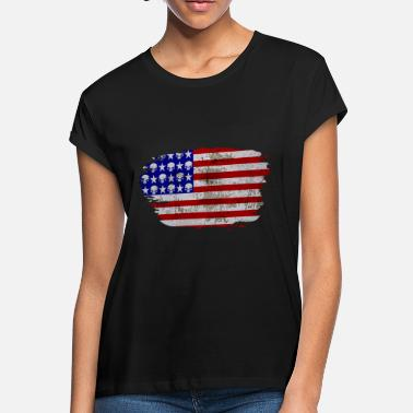 Retro Usa Flag USA flag with skulls in retro design - Women's Loose Fit T-Shirt