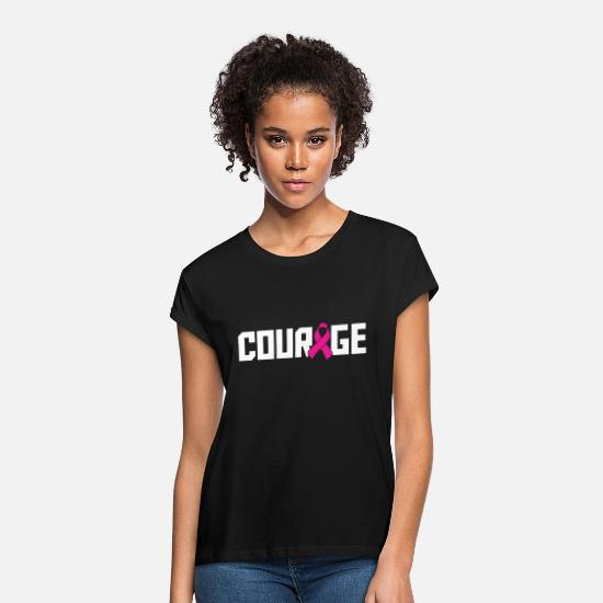 Beat T-Shirts - Courage Breast Cancer Awareness Cancer T Shirts - Women's Loose Fit T-Shirt black