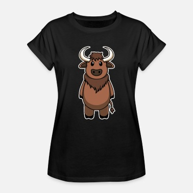 Bison Animal Child Baby Bison Sweet Cute Gift - Women's Relaxed Fit T-Shirt