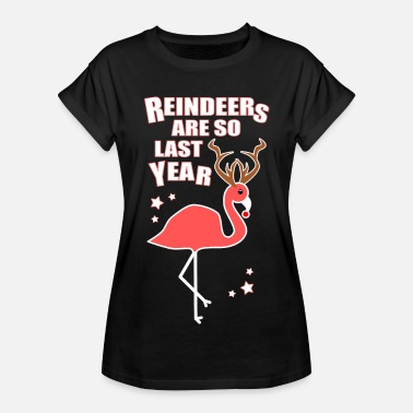 Christmas Flamingo Reindeer Funny Quote - Women's Relaxed Fit T-Shirt