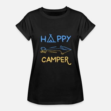 Bonfire Nature Happy Camper Camping Tent Bonfire Nature gift - Women's Relaxed Fit T-Shirt