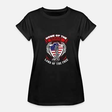 Captain America Shield Captain America Home of the brave land of the fr - Women's Relaxed Fit T-Shirt