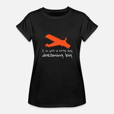Boy Airplane Little Boy Dreaming Big Airplane - Women's Relaxed Fit T-Shirt