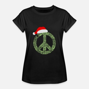 Peace Sign Christmas Peace Sign Santa Yoga Spiritual Gift - Women's Relaxed Fit T-Shirt