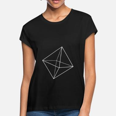 Octahedron Octahedron Geometry Present Art Design White - Women's Loose Fit T-Shirt