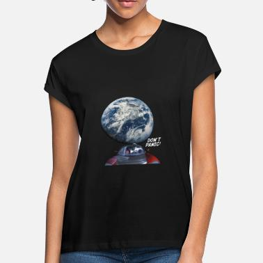 Space Dont Panic Dont Panic - Red Roadster Escapes from Earth - Women's Loose Fit T-Shirt