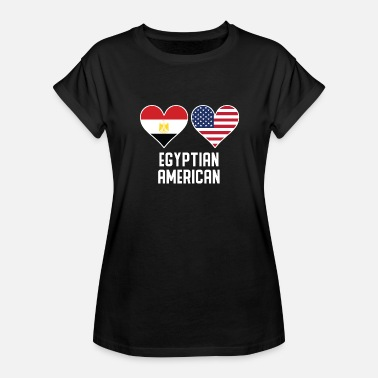 Egyptian American Flag Egyptian American Heart Flags - Women's Relaxed Fit T-Shirt