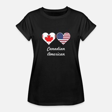 Canadian Heart Canadian American Flag Hearts - Women's Relaxed Fit T-Shirt