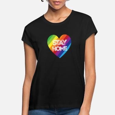 Stay Home Stay Safe Rainbow Stay Home Rainbow Heart - Women's Loose Fit T-Shirt