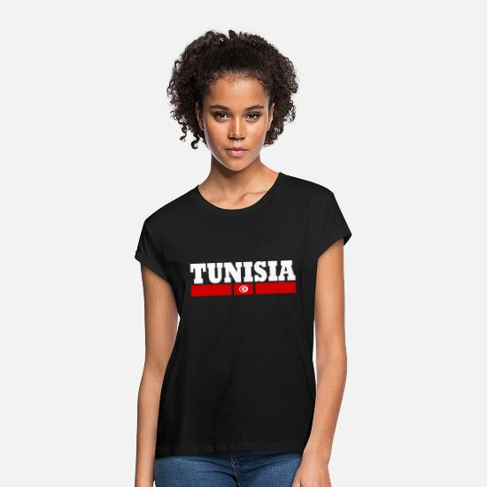 New T-Shirts - Cool TUNISIA design Flag - Women's Loose Fit T-Shirt black