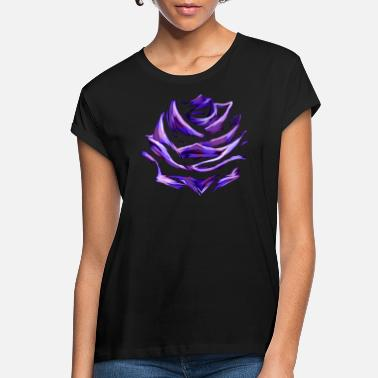 Rose Purple Blue Rose Abstract Art Flower Colorful - Women's Loose Fit T-Shirt