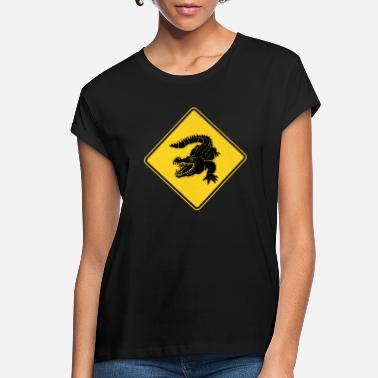 Road Australia Crocodiles Road Sign Alligator Gift Idea - Women's Loose Fit T-Shirt