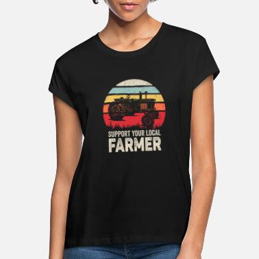 Retro Support Your Local Farmer Shirt Vintage Trac - Women's Loose Fit T-Shirt