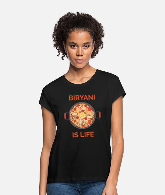 Design T-Shirts - Swag Swami Biryani Is Life Design For Foodies - Women's Loose Fit T-Shirt black