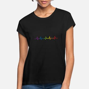 Gay Pulse Heartbeats LGBT Rainbow T-shirt - Women's Loose Fit T-Shirt