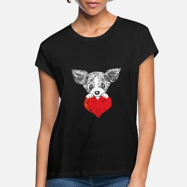 Cute Dog With Heart T Shirt - Best Valentine Gift - Women's Loose Fit T-Shirt