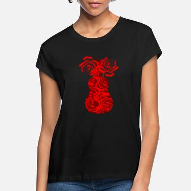 Acoustic Red Flower Design Acoustic Guitar Music Guitarist - Women's Loose Fit T-Shirt