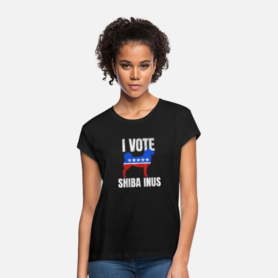 Dog Owner T-Shirts - Shiba Inu Sarcastic Politics Election Campaign - Women's Loose Fit T-Shirt black