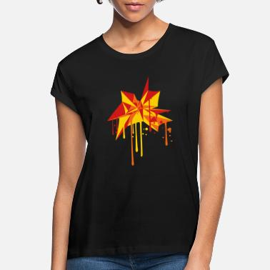 Graffiti star art spray graffiti drops yellow orange shape - Women's Loose Fit T-Shirt