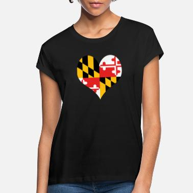 Flag Of Maryland Heart Maryland Love country America USA gift idea - Women's Loose Fit T-Shirt