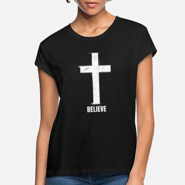 White Cross Believe Christianity Faith Cross - Women's Loose Fit T-Shirt