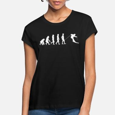Ape Skiing Ape To Man Evolution Funny Gift - Women's Loose Fit T-Shirt