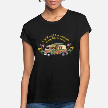 Hippie Womens Cute Hippie Peace - Girl and Her Animals - Women's Loose Fit T-Shirt