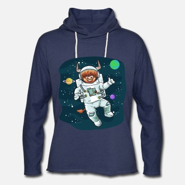 Horns Scottish Highland Cow Space Cow Bull Breeder Gift - Unisex Lightweight Terry Hoodie