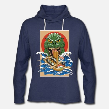 Ilustration Funny Sushi monster - Unisex Lightweight Terry Hoodie