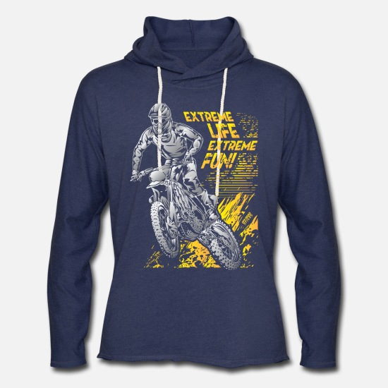 Motorcycle Hoodies & Sweatshirts - Extreme Life Motorcycle - Unisex Lightweight Terry Hoodie heather navy
