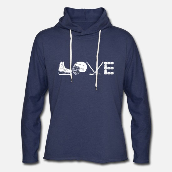 Hockey Hoodies & Sweatshirts - Love Hockey Shirt - Unisex Lightweight Terry Hoodie heather navy