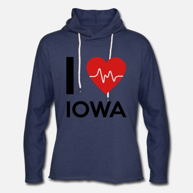 Love Iowa I Love Iowa - Unisex Lightweight Terry Hoodie