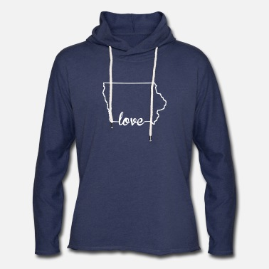 Love Iowa Iowa Love State Outline - Unisex Lightweight Terry Hoodie
