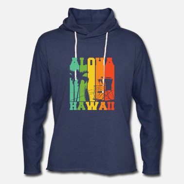 Island Aloha hawaii colorful beach scenery palm trees - Unisex Lightweight Terry Hoodie