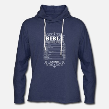 Bible Bible Words Bible Verses Bible Emergency Hotline - Unisex Lightweight Terry Hoodie