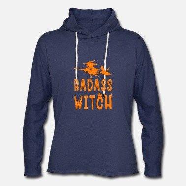 Badass Witch Hallowenn Cat Broom - Unisex Lightweight Terry Hoodie