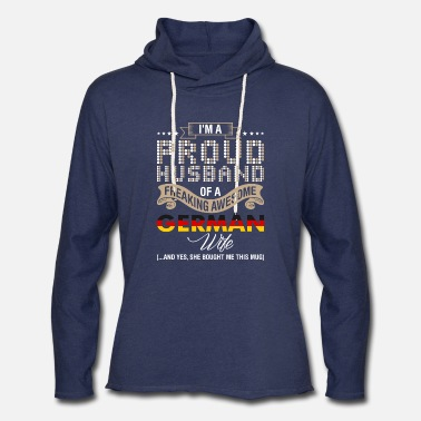 Proud Im A Proud Husband Of A Freaking Awesome German Wi - Unisex Lightweight Terry Hoodie