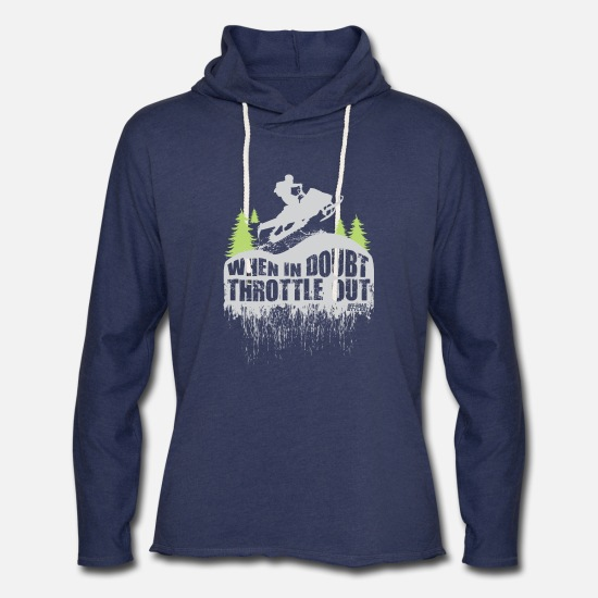 Snowmobile Hoodies & Sweatshirts - Snowmobile Throttle Out - Unisex Lightweight Terry Hoodie heather navy
