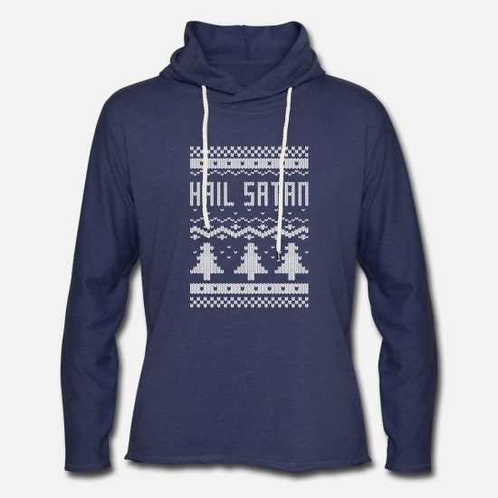 "Christmas Hoodies & Sweatshirts - Ugly ""Hail Satan"" Christmas T-Shirt - Unisex Lightweight Terry Hoodie heather navy"