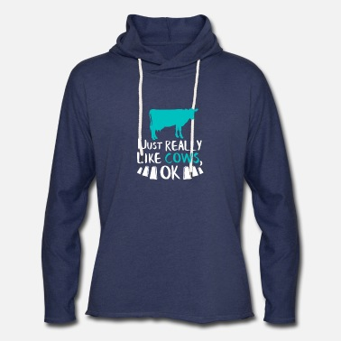 Dairy Cow Gift I Just Really Like Cows OK Dairy Farmer - Unisex Lightweight Terry Hoodie