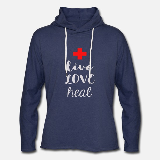 Love Hoodies & Sweatshirts - Live Love Heal - Unisex Lightweight Terry Hoodie heather navy