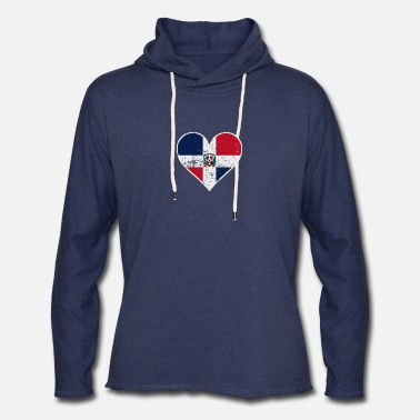 Dominican Flag Distressed Dominican Flag Heart - Unisex Lightweight Terry Hoodie