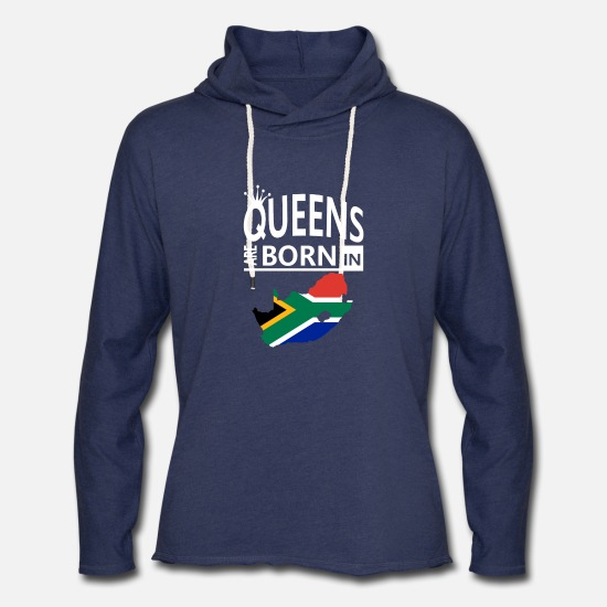 South Hoodies & Sweatshirts - Queens are born South Africa Pride Woman Birthday - Unisex Lightweight Terry Hoodie heather navy