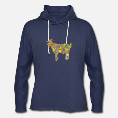 Goat With Flowers Goat Flower Tee Shirt - Unisex Lightweight Terry Hoodie