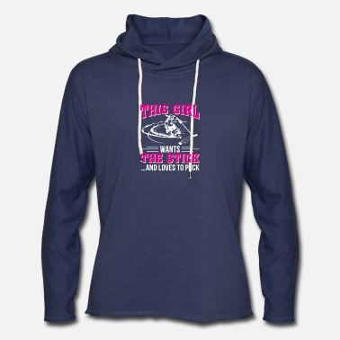 Puck Hockey Girl Want The Stick And Loves Puck - Unisex Lightweight Terry Hoodie